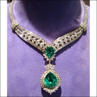Sold 26.73Ct Gia F2 Colombia Emerald & 11.18Ct F1 & 53.86Cts Diamond Necklace 18k