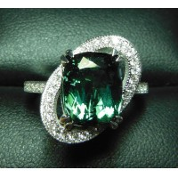 Sold 4.60Ct Green Tourmaline & Diamond Ring 18kwg by Jelladian