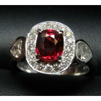 Sold Gia Ruby & Heart Diamond Ring 18kwg by Jelladian