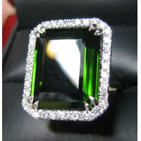 Sold 24.28Ct Gia Green Tourmaline & Diamond Ring Platinum by Jelladian
