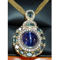 Sold 1 of a Kind Rare Gia Tanzanite Cat's Eye, Alexandrite & Diamond Pendant By Daniel Arthur Jelladian