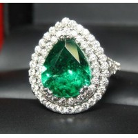 Sold Gia 3.37Ct Emerald & 2 Row Diamond Ring Platinum by Jelladian