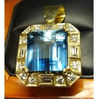 Sold 21.72Ct Gia Blue Beryl Aquamarine & Diamond Pendant By Daniel Arthur Jelladian