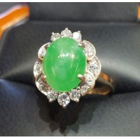 Estate 3.80Ct Jade & Diamond Ring 14k Gold