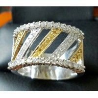 Estate Wide Fancy Yellow & White Diamond Band 18k White Gold