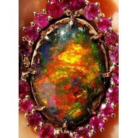 Sold Gia 18.88Ct Opal with matrix set in 18k Rose Gold by Jelladian