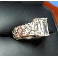 French Cut Square Carre Quilted Setting for 3Ct Emerald cut Diamond by Daniel Arthur Jelladian $2,500 Setting Only