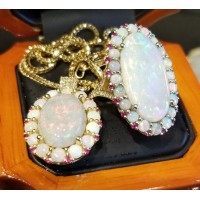 Sold Opal, Ruby & Diamond Ring & Pendant Set 18k Gold by Jelladian
