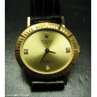 Sold Estate Rolex Cellini with Diamond markers 18k Gold minty
