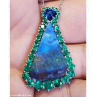 Sold The Psalm 23 Jewel with Blue Opal on Matrix, Blue Heart Sapphire, Green Emeralds, Red Ruby & Diamonds in Platinum & 18k Golds by Jelladian LuxuryWorld.com