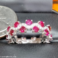 Sold Ruby & Diamond Eternity Band 18k White Gold by Jelladian